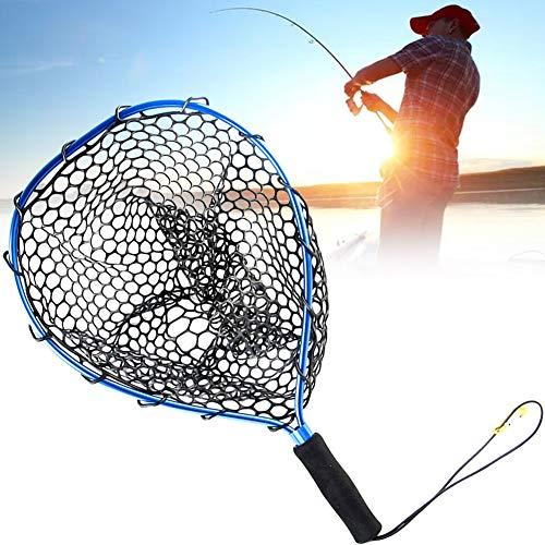 Crab Trap Floats Kescher Fliegenfischen Landung Forelle Netzfischerei Cast Net Catch and Release Net Ultra-Light-Aluminiumlegierung Gummi Dip Net Blau-Schwarz