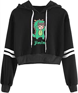 Women's Fashion Hoodie with Cute Characters Kpop BTS Bangtan Boys Short Sweaters