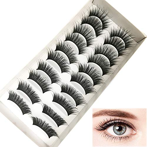 10 Paires Faux Cils 3D Réutilisables Naturels sans Colle, de maquillage Eyelashes Kit Elégan