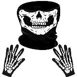 LYTIVAGEN Schädel Gesichtsmaske mit 1 Paar Skelett Handschuhe Skull Schlauch Maske Skelett Motorrad...