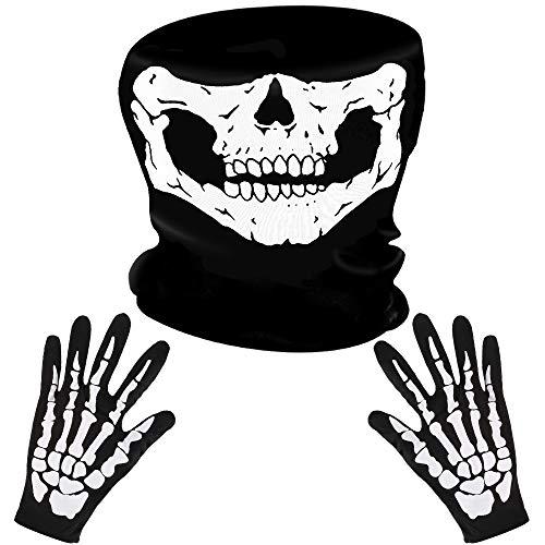 LYTIVAGEN Schädel Gesichtsmaske mit 1 Paar Skelett Handschuhe Skull Schlauch Maske Skelett Motorrad Gesichtsmaske für Halloween, Party Kostüm, Outdoor Aktivitäten