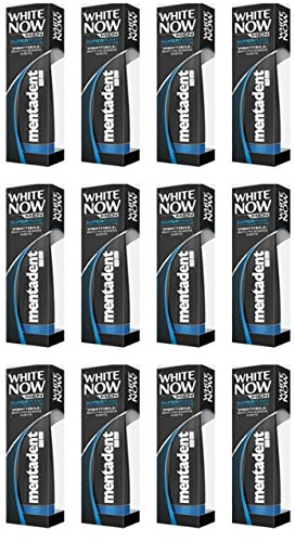 12 X Dentifricio Mentadent White Now Men Super Pure sbianca denti per uomo