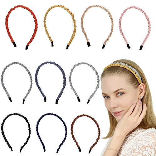Folora 10 stks Mode Kleurrijk Linnen geplooide Hoofdband voor meisjes, Kan DIY met verschillende stijlen als je wilt, De meest populaire haarband van dit jaar