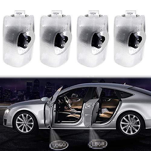 Decesy - 4 piezas de luz de bienvenida Lexus para puerta de coche, luz LED con logotipo, proyector, luz de suelo, foco, luz de paso de cortesía, kit de luz de bienvenida para la