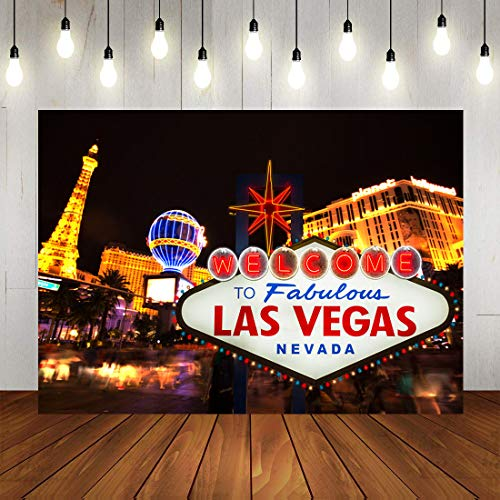 Art Studio 7x5ft Welcome to Las Vegas Photography Backdrop City Billboard Banner Casino Night Scenery Party Decorations Photo Background Vinyl Studio Booth Props