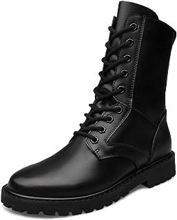 MERRYHE Grande Taille Martin Bottes pour Hommes en Cuir Véritable en Plein Air Armée Militaire Tactique Boot Noir Sécurité...