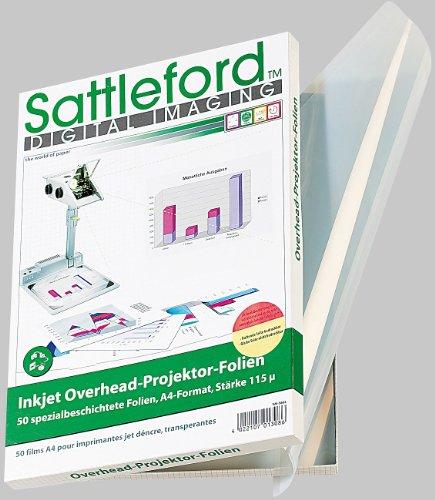 Sattleford Transparentpapier: 50 Inkjet-Overhead-Folien, DIN A4, transparent, 115 µm (Overheadfolie Tintenstrahldrucker)