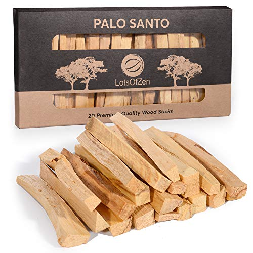 LotsOfZen Natural Palo Santo Smudging Sticks, 20 Per Box, Real Holy Wood Incense Sticks, Spiritual Tools for Cleansing, Ritual, and Meditation, Authentic Hand-Picked Smudge Sticks from Peru