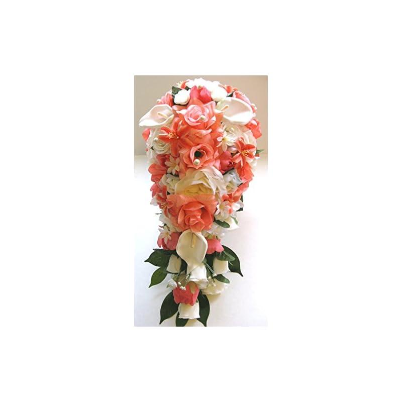 silk flower arrangements wedding bouquets bridal silk flowers coral ivory calla lily cascade 17 piece package wedding bouquet centerpiece flower arrangements rosesanddreams