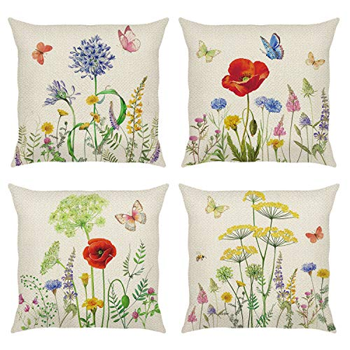 Bonhause 4 Pack Federa per Cuscini 45 x 45 cm Giardino Fiori Primavera Farfalla Cotone Biancheria Copricuscini Decorativi per Divano Letto Auto