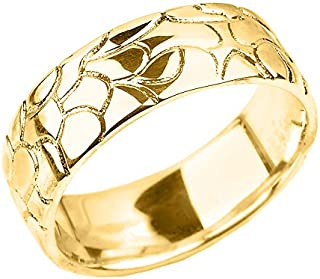 Men's Solid 10k Yellow Gold Textured Band Nugget Wedding Ring - 7 MM