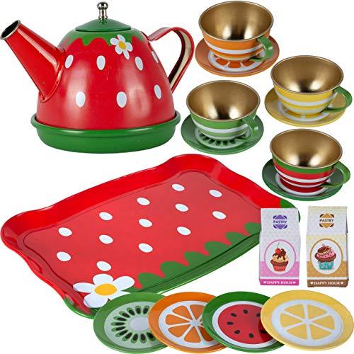 MalPlay Teeservice | Kaffeeservice Geschirr aus Metall | tolle Ergänzung für die Kinderküche | 16-teiliges Teeset | Teller | Tassen | Tablett | für Kinder Mädchen ab 3 Jahren