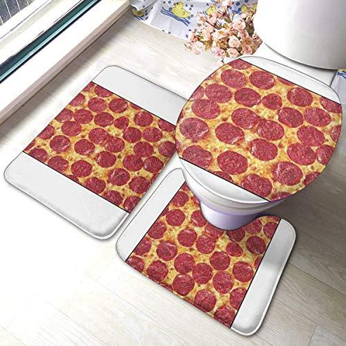 GABRI 3 Piece Wurst Käse Bad Teppich Set, Anti-Rutsch-Pads Badematte + Kontur + WC-Deckel Abdeckung