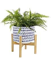 La Jolíe Muse Keramisk växtkruka med trästativ – 24 cm hög modern rund dekorativ blomkruka inomhus med trä planteringshållare, blå och vit, heminredning present