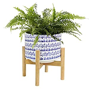 LA JOLIE MUSE Ceramic Plant Pot with Wood Stand – 7.3 Inch Modern Round Decorative Flower Pot Indoor with Wood Planter Holder, Blue and White, Home Decor Gift