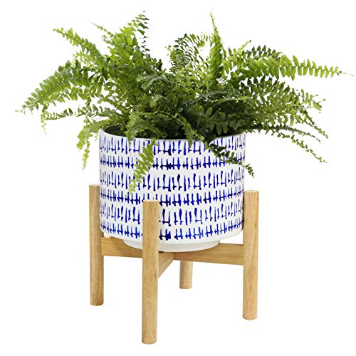 La Jolíe Muse Ceramic Plant Pot with Wood Stand - 24CM High Modern Round Decorative Flower Pot Indoor with Wood Planter Holder, Blue and White, Home Decor Gift
