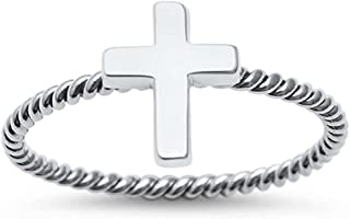 Sterling Silver Braided Cross Ring Sizes 4-11
