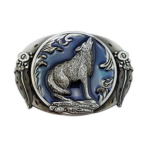 Lanxy Men's Fashion Cool Retro Western Cowboy Wolf Leaf Belt Buckles Blue Enamel Grey Tone, free