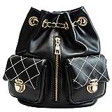 BeiMi Frauen Rucksack Umhängetasche Damenmode Rucksack Geldbörse Leder Reißverschluss Handtasche