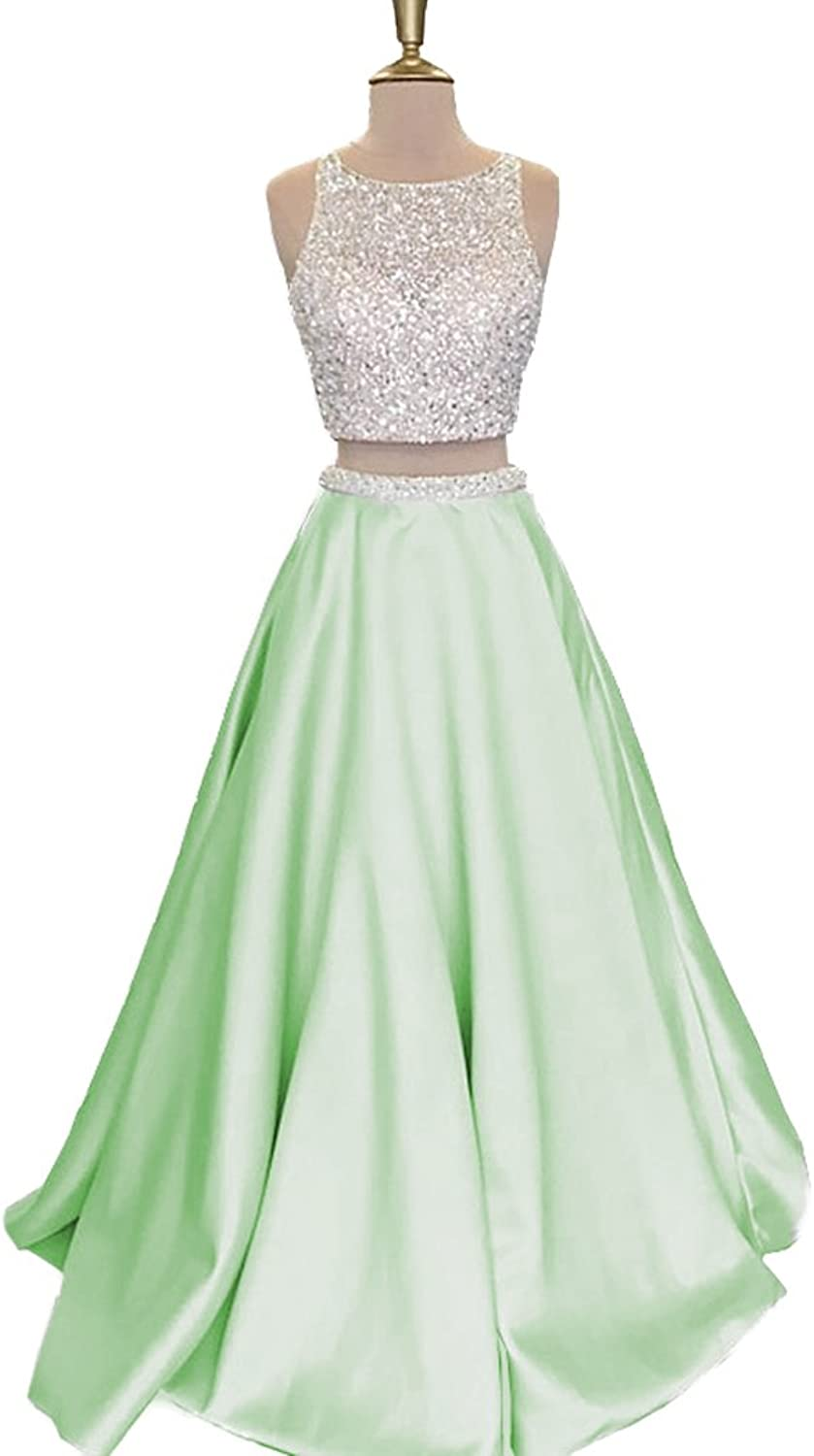 QiJunGe Silver Beaded Two Piece Prom Dress Backless Formal Evening Party Gowns