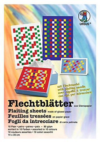 Ursus 3340099 Flechtblätter, 80 g/qm, ca. 14 x 20 cm, 10 Paar in 10 verschiedenen Farben, aus ungummiertem Glanzpapier, 10 mm Schnittbreite, zum Flechten von beeindruckenden Mustern