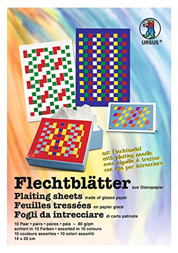 Ursus 3340099 - Flechtblätter, 14 x 20 cm, 80 g/qm, 10 Paar, sortiert in 10 Farben