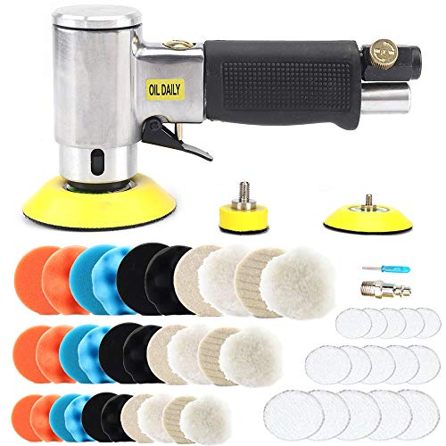 1/2/3 Inch Mini Air Angle Sander Air Random Orbital Palm Sander Grinder for Auto Body Work, High Speed Air Powered Sanders & Polisher with 27 Polishing Pads Buffing Pads and 30 Sandpapers (silver)