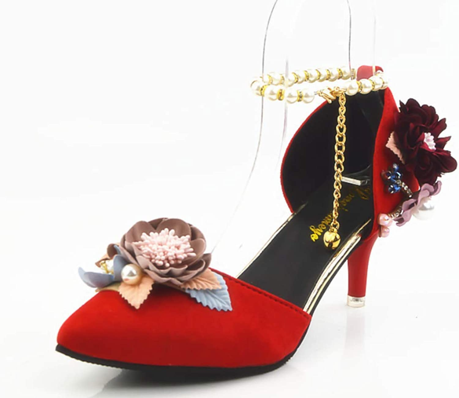 Shiney Women's Red High Heel Crystal shoes Pointed Rhinestones Handmade shoes Wedding Sandals Bridal shoes