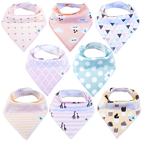 Baby Organic Bandana Drool Bibs 8 Pack for Girls, Hypoallergenic Absorbent Soft...