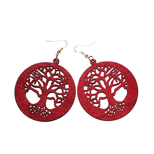 XCWXM Women's Big Earrings Fashion Jewelry Popular Hollow Tree of Life Blue Green Natural Wood Long Drop Earrings Women's Party Wine Red