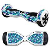 MightySkins Skin Compatible with Self Balancing Mini Scooter Hover Board - Blue Scales | Protective, Durable, and Unique Vinyl Decal wrap Cover | Easy to Apply, Remove | Made in The USA