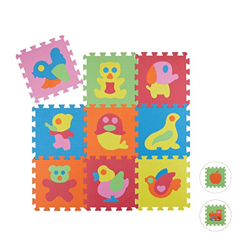 Relaxdays Alfombra Bebé Puzzle Animales, Goma EVA, 90 x 90 cm