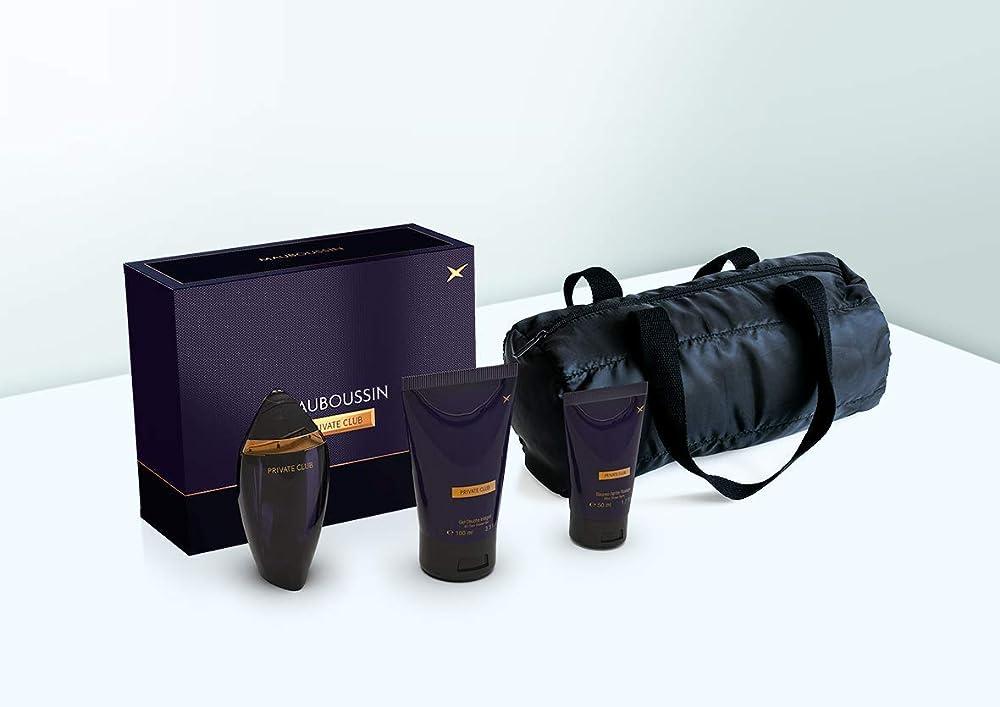 Mauboussin private club prestige box,eau  de parfum,profumo per uomo,100 ml piu` gel doccia,piu` afther shave 48