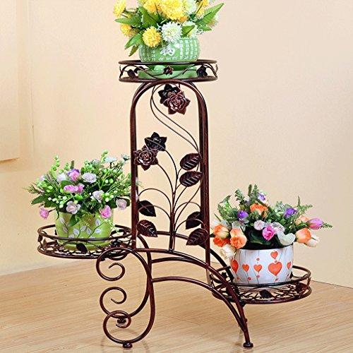 DGF Iron Art Flower Stand, étagère intérieure à trois étages Stand d'affichage (60 cm de long * 24 cm large * 69 cm de haut) blanc noir or (Couleur : Violet)