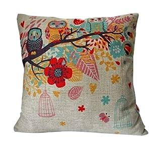 Funda decorativa para almohadón, de forma cuadrangular, mezcla de algodón y lino, con diseño de búhos con jaula, 45 cm x 45 cm., algodón, lino, multicolor, 45,72 x 45,72 cm