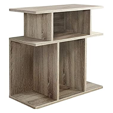 Monarch Specialties I 2476, Accent Side Table, Dark Taupe Reclaimed-Look, 24H