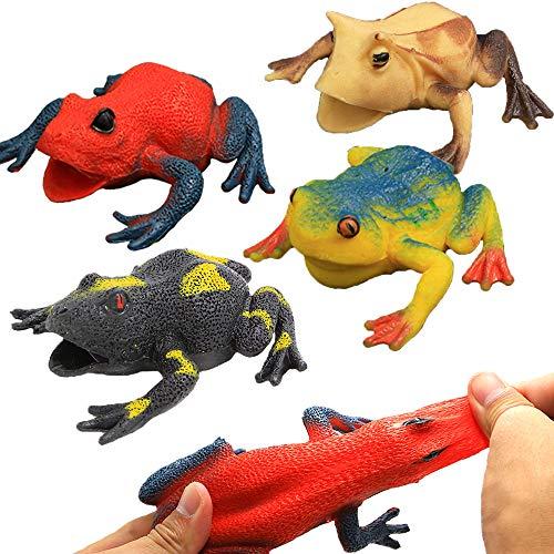 Spielzeuge in Form von Frosch,Gummifrosch-Set 4.5 inch (6 Packset),lebensmittelgeeignetes Material TPR,super dehnbar,mit geschenkter Tasche,Tierwelt, Froschfiguren,für Jungs und Kinder,Badespielzeug