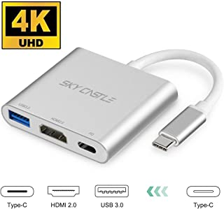 USB Type C HDMI 変換 アダプタ Sky Catle タイプC 4K 解像度 HDMI2.0ポート+USB 3.0高速ポート+USBタイプC高速PD充電ポート 3in1 変換 アダプタ UHDコンバータ MacBook Pro/MacBook Air/iPad/Nintendo Switch/USB C デバイス 対応