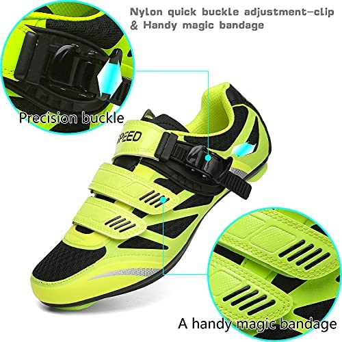 Road Bike Cycling Shoes, Riding Bicycle Shoes Spin Shoes Indoor Cycling with Precise Buckle Strap Compatible SPD Cleats for Man