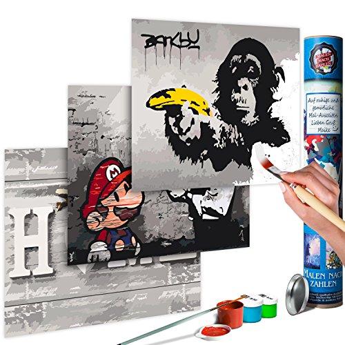 murando Malen nach Zahlen Banksy Mario & Home & AFFE 180x40 cm 3 Motiven Kit Malset Für Erwachsene und Kinder ab 12 Design Geschenk-Tube DIY Gemälde Handgemalt n-A-0352-ab-e