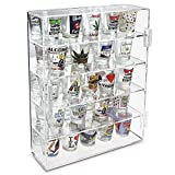 Ikee Design Mirror Back Acrylic Display Case with 4 Shelves for Shot Glasses, Figures and More, Acrylic Case for Home Decor, Shop Display and Showcasing Use, 10 7/8' W x 2 7/8' D x 14' H