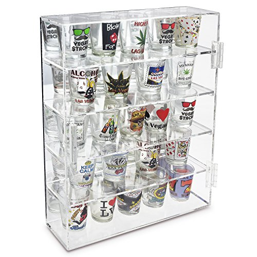 """Ikee Design Mirror Back Acrylic Wall Mountable Display Case with 4 Shelves for Shot Glasses, Figures and More, Acrylic Case for Home Decor, Shop Display and Showcasing Use, 10 7/8""""W x 2 7/8""""D x 14""""H"""