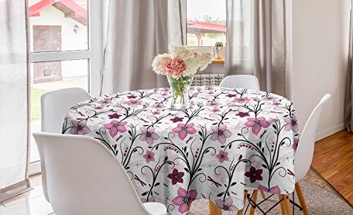 ABAKUHAUS Libelle Runde Tischdecke, Shabby Pflanze Röschen, Kreis Tischdecke Abdeckung für Esszimmer Küche Dekoration, 150 cm, Blassrosa Getrocknete Rose