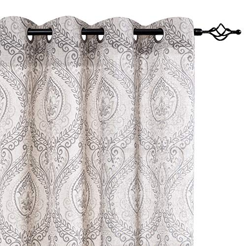 """jinchan Damask Printed Curtains for Bedroom Drapes Vintage Linen Blend Medallion Curtain Panels Window Treatments for Living Room Patio Door 1 Pair 84"""" Grey"""
