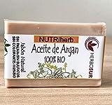 JABÓN DE ACEITE DE ARGÁN 100% BIO, Jabón nutritivo, Hidratante, Pieles Secas, Aceite de argán de...