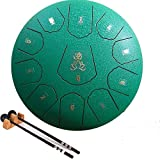 Ailla Steel Tongue Drum, 11 Notes 12 Inches C Key Hand Drum, Percussion Instrument Tankdrum with Mallets Bag Set for Meditation Yoga Sound Healing(Green)