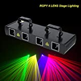 Sound Activated Stage Lights,4 Lens 30W Stage Light 100 Multi-Patterns 7CH DMX512 Controlled Disco DJ Party Effect Lights RGPY US Plug 110V (Black)