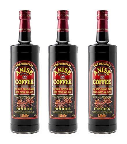 3x 1,0l Kaffee Ouzo Likör 21% | Das Original von Rhodos | Coffee Anise Aigaion | + 1 x 20ml Olivenöl von Kreta