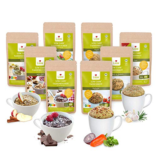 Lizza Low Carb Mikrowellen Gourmet Box | Bis zu 87% weniger Kohlenhydrate | Keto-, Atkins- & Diabetikerfreundlich | Bio. Glutenfrei. Vegan. | Ballaststoffreich | 4 Tassenkuchen & 4 Tassenbrote
