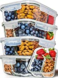 Prep Naturals Glass Meal Prep Containers 3 Compartment 5 Pack - Bento Box Containers Glass Food...